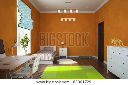 Part of interior modern child room with orange walls 3D rendering
