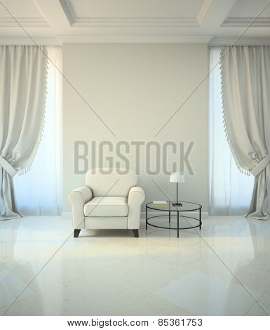 Room in classic style with armchair and coffee table 3D