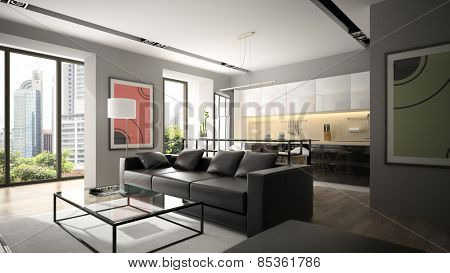 Modern interior with black sofa and parquet floor 3D rendering