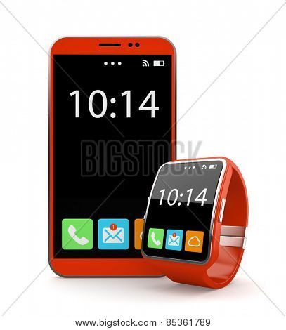 Red smartohone and smart watch on white background