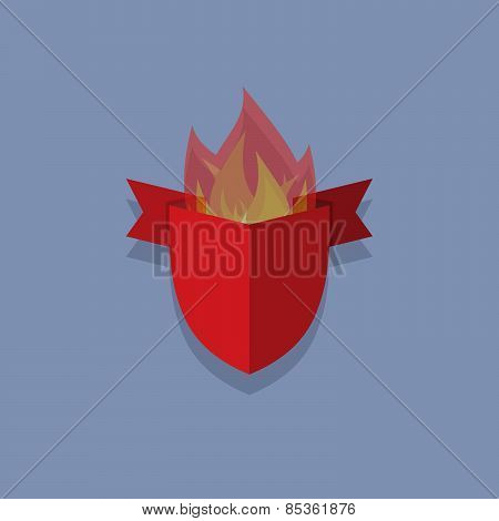 shield with wings and ribbon. heraldic shapes