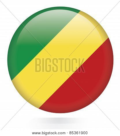 Congo Republic Flag glossy button
