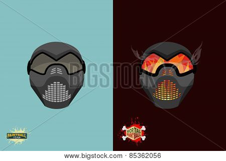 Paintball team logo and emblem. scary skull  in paintball  mask and gun. Mortal paintball