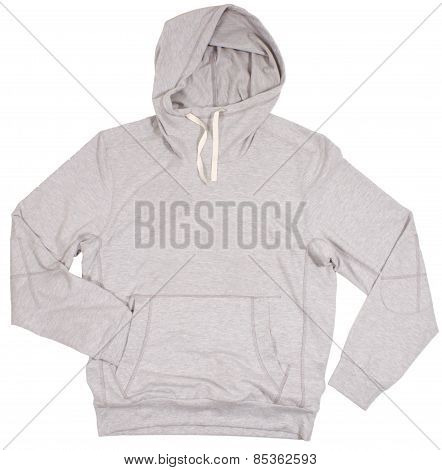 Gray hoodie sweater. Isolated on white background.
