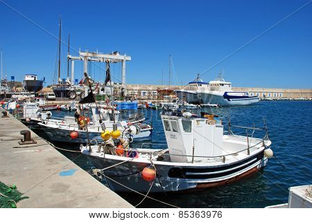 Fishing boats in Carboneras harbour.