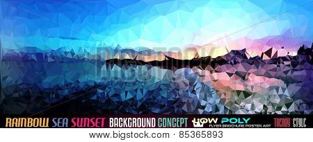 Low Poly tSea Sunset Art background for your polygonal flyer, stylish brochure, poster background and fresh applications.