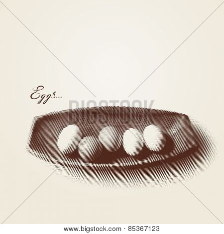 Vector engraved style one color illustration, a bowl of eggs