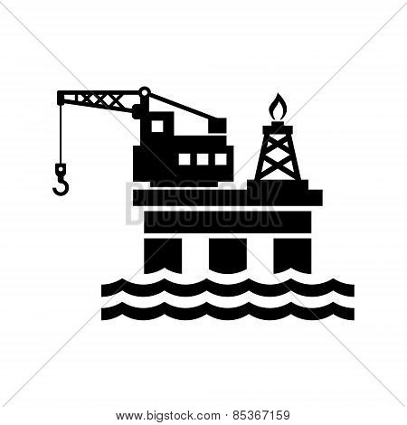 Oil Platform for Logo and Icon. Vector