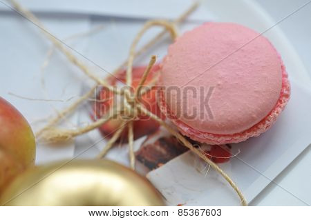 Close-up of pink macaroon pastry