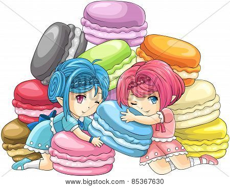 Cute Cartoon Macaron Nymphs, The Goddess Of Candy With Pile Of Colorful Macarons In The Background,