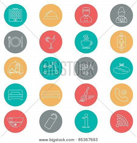 Icons Of Hotel Service. Thin Line Icon. Hotel Glyph. Colorful Button. Vector