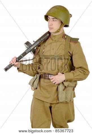 Young Soviet Soldier With Machine Gun Ppsh-41
