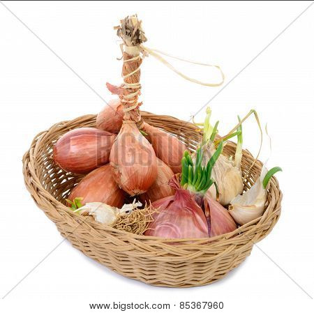 Shallots And Onions In A Basket