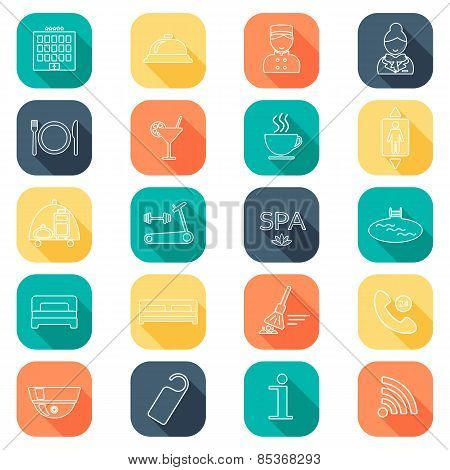 Hotel Line Icons Set.  Hotel Glyph. Buttons With Shadow. Flat Color. Vector