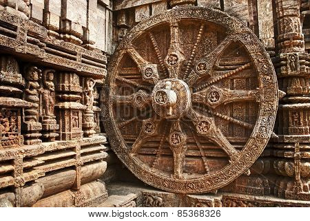 Beautiful chariot Wheel, Konark Sun Temple, Orissa
