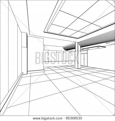 Abstract modern office architecture design in 3D wire-frame