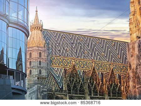 St. Stephan Cathedral And The Modern Haas Haus In Vienna