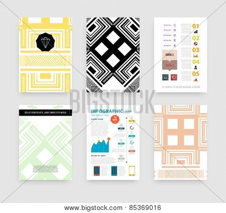 Infographic Vector Illustration with Abstract Geometric Pattern Background. Business Template for Flyer, Banner, Placard, Poster, Brochure Design. Graphic Black Ornament and Elements. Technology Art