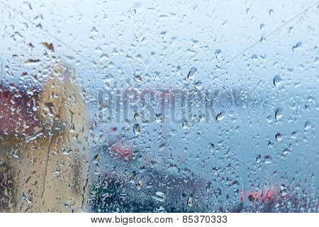Rainy Background, Water Drops On The Window Glass
