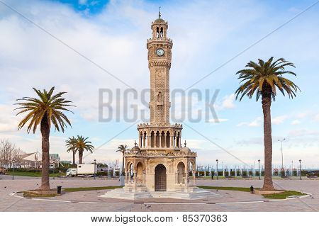 Empty Konak Square View With Historical Clock Tower. Izmir