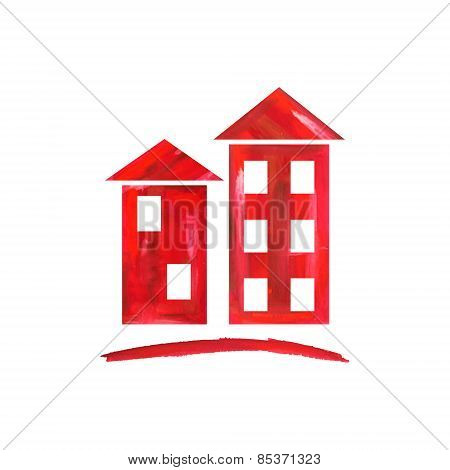 Red houses icon