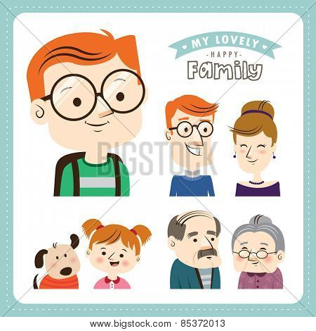Family. People character design.