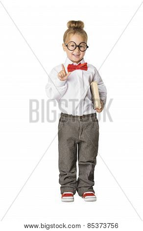 School Child Portrait, Little School Girl In Glasses With Book, Kid Finger Point Up, Small Student