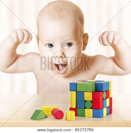 Smart Baby Playing Toy Blocks, Strong Healthy Child Laughing, Hand Raise Up, Little Kids Success