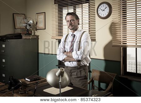 1950S Director Standing In The Office