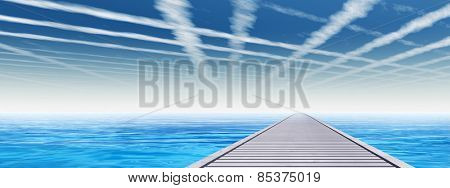 Concept or conceptual old wood or wooden deck pier on coast of exotic blue clear sea, ocean waves vacation or tourism sky background banner