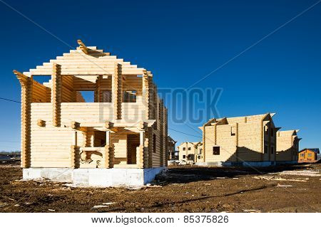 ecological wooden house and building area