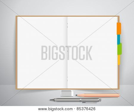Note book with pen and pencil, Business working elements for web design , mobile applications, social networks.