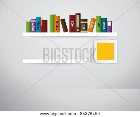 Book shelf. Vector illustration.