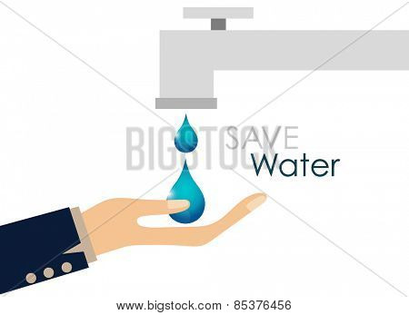 World water day concept with water drop. Vector illustration.