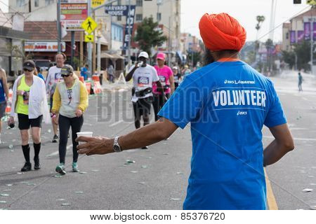 Unidentified Volunteer Participating In The 30Th La Marathon Edition