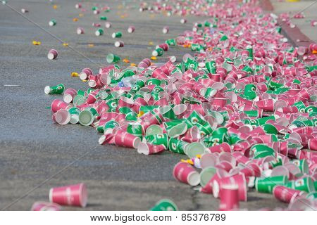 Paper Cups Discarded On The Floor During The 30Th La Marathon Edition