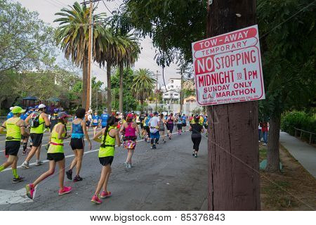 Unidentified Runners Participating In The 30Th La Marathon Edition