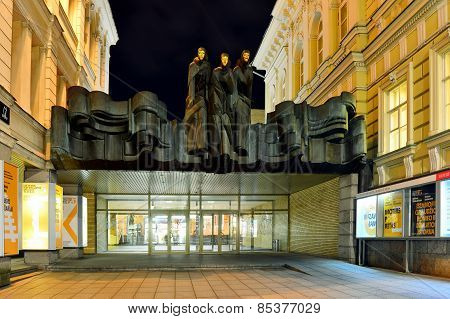 Lithuanian National Drama Theatre Located On Gediminas Avenue