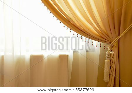 Beige Window Curtain With Crystals