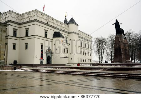 Grand Duke Gediminas With Horse Monument And Palace Of Dukes