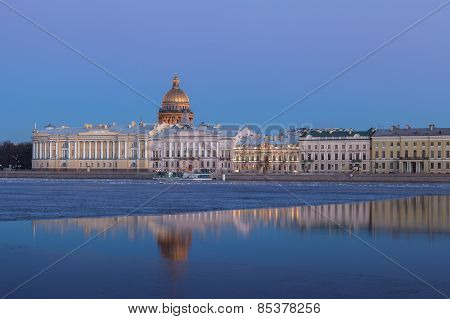 English Embankment And Saint Isaac's Cathedral, St. Petersburg At Sunset