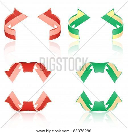 Set Of Frosted Arrows. Red, Green