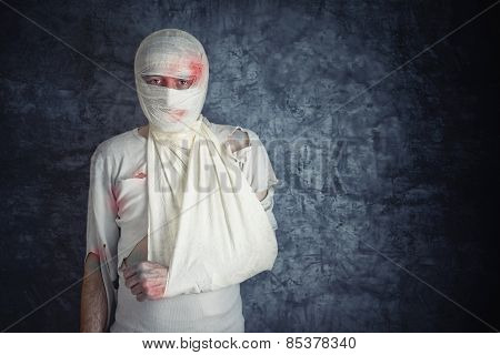 Injured Man With Head Bandages