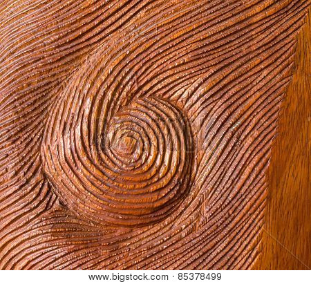 Handed Carved Whirl Red Wood Texture Background
