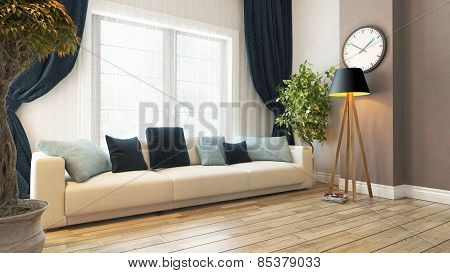Living Room With Seat And Curtain 3D Rendering