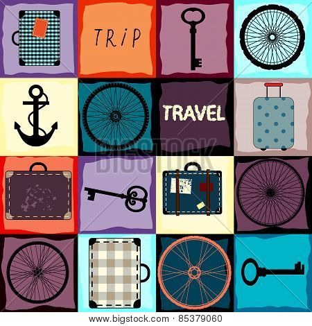 Travel background with wheels and suitcases.