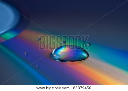 Abstract Cd Reflection Background With Water Droplets