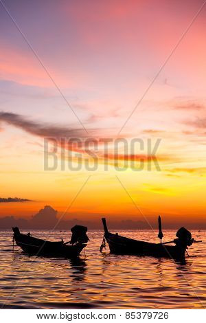 South China Sea Sunrise Boat  And Sea In Thailand