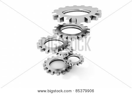 Tower Of Silver Colored Metallic Cogwheels Hovering