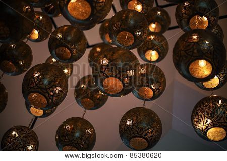 Background From Shaining Tunisian Metal Lamps